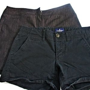 women's black shorts 2 pair american eagle and cat